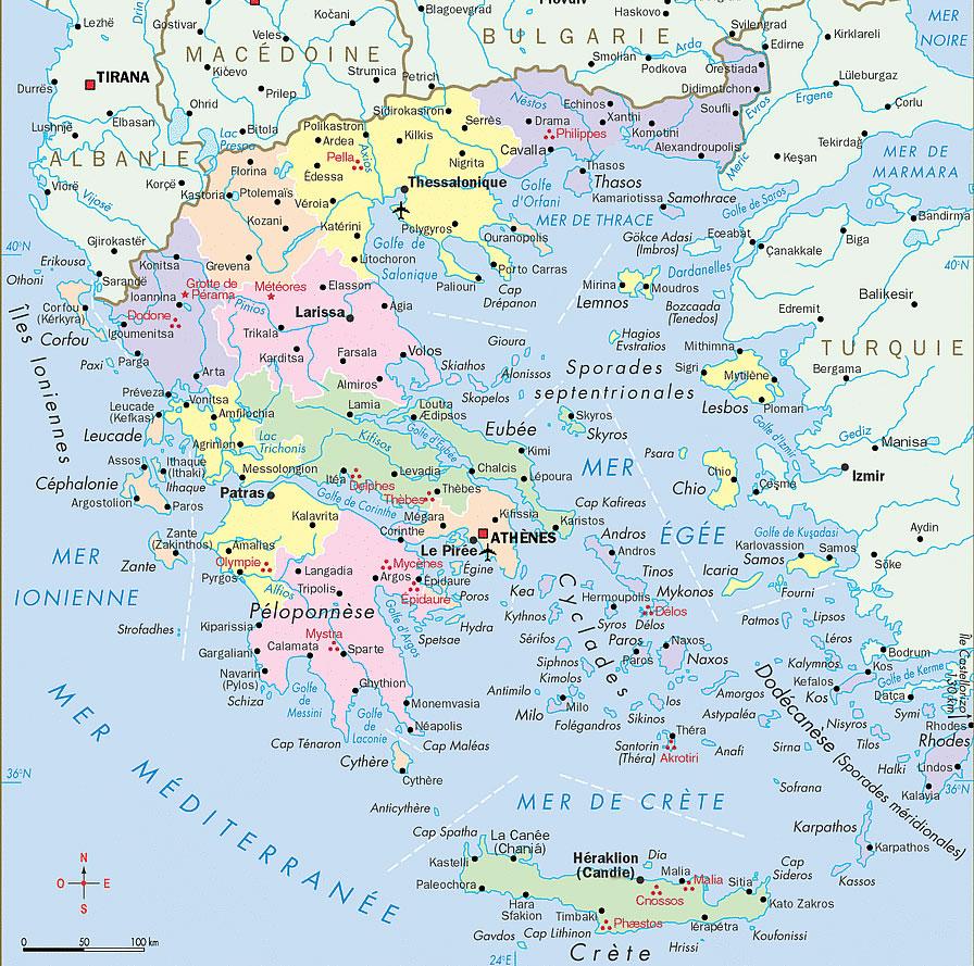Harta Greciei Cu Regiuni Detailata Hartaeuropa